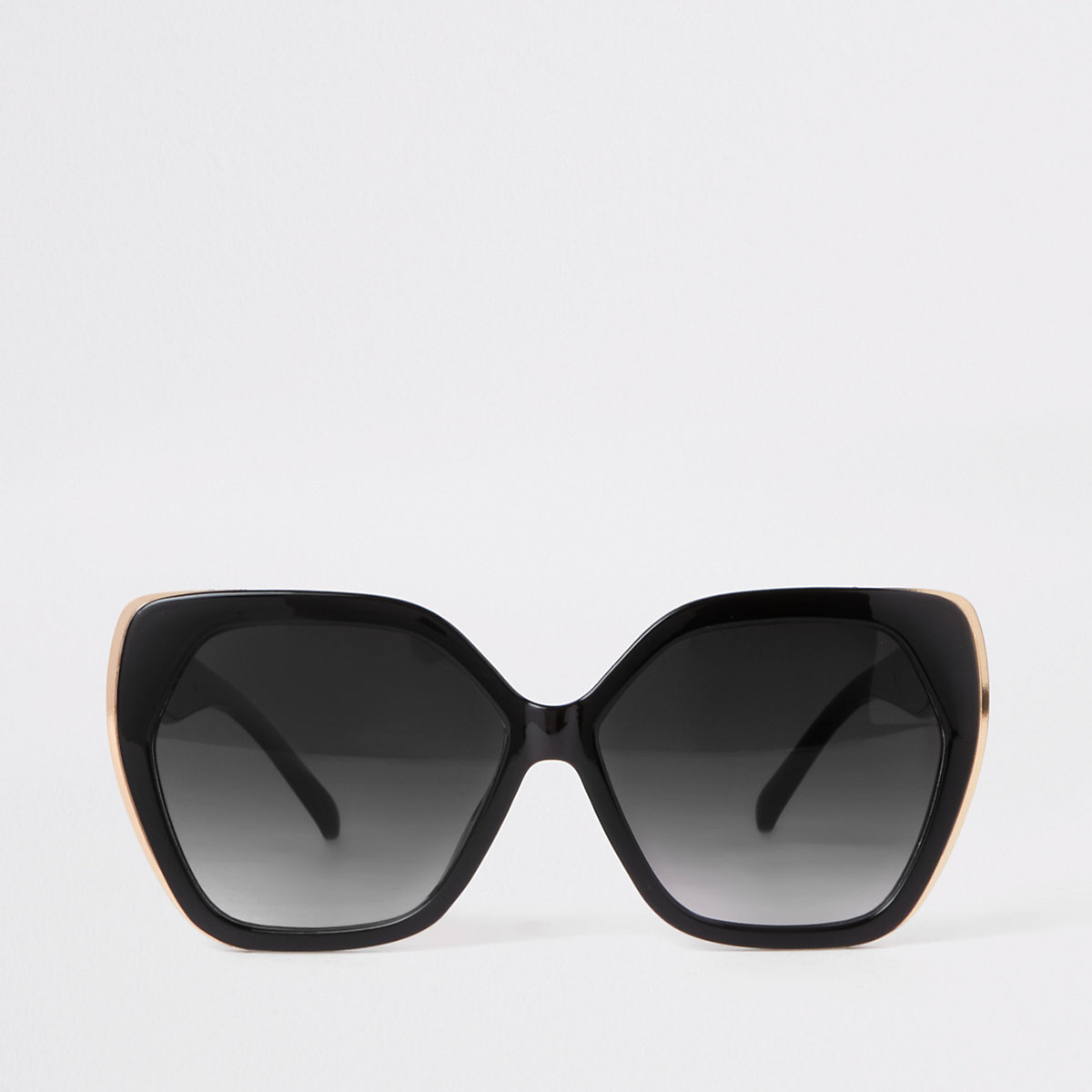 Black hexagon glam sunglasses