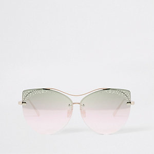 Gold tone diamante glam sunglasses