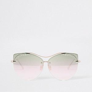 Goudkleurige glamoureuze zonnebril met diamantjes