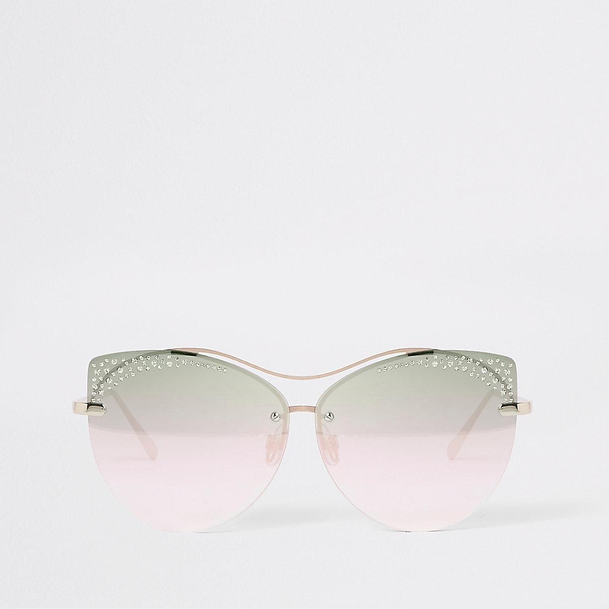 Gold tone rhinestone glam sunglasses