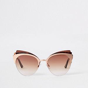 Roze tortoise cat-eye zonnebril