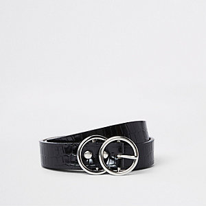 Black croc embossed double ring mini belt
