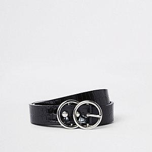 Mini ceinture grain croco noire à deux anneaux