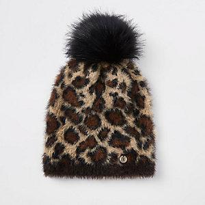Beige leopard print pom pom beanie hat