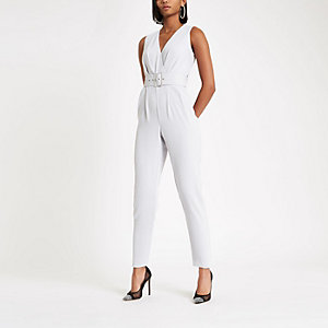 Light grey tie waist tapered leg jumpsuit