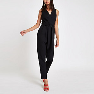 Black sleeveless tie waist jumpsuit