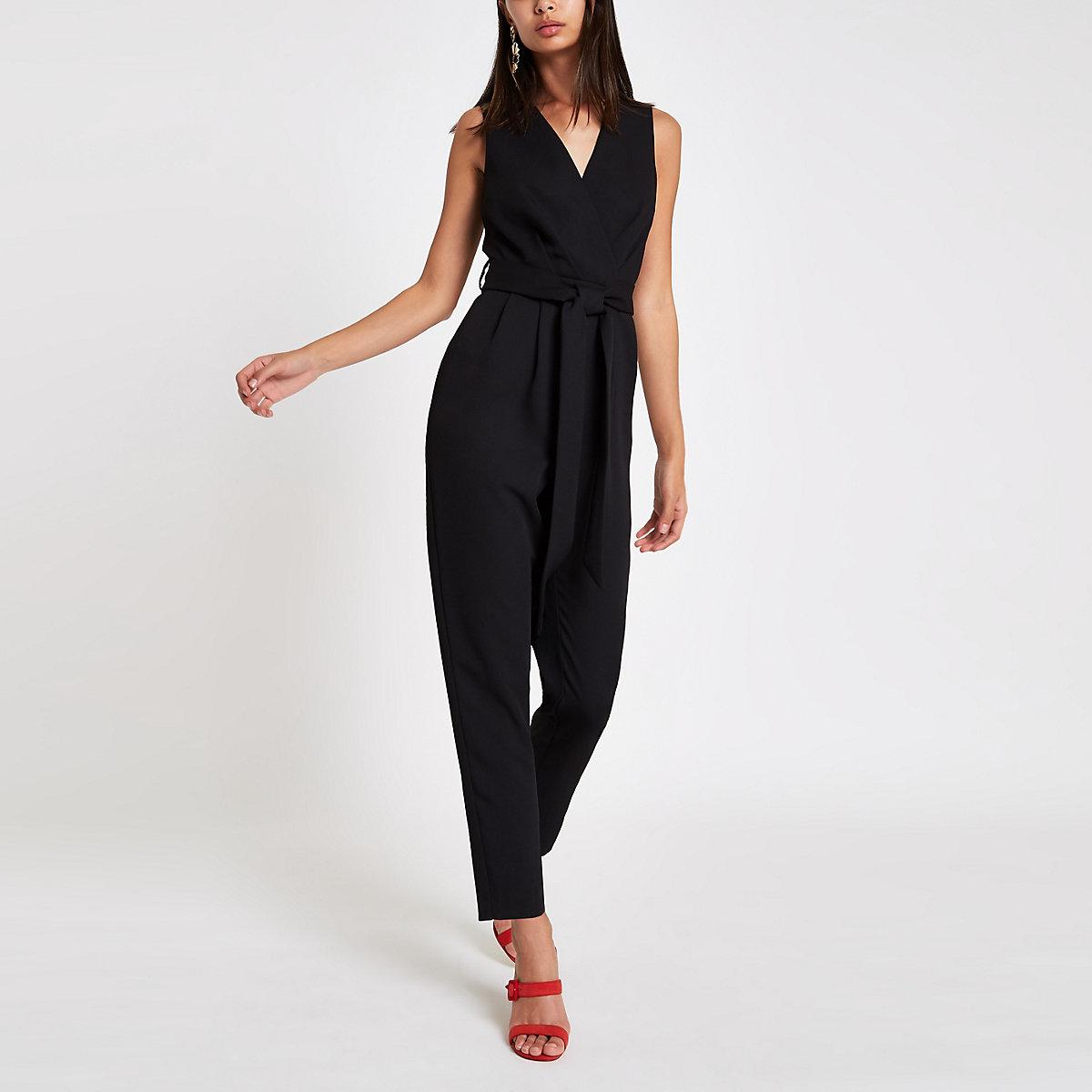 Black sleeveless tie waist jumpsuit