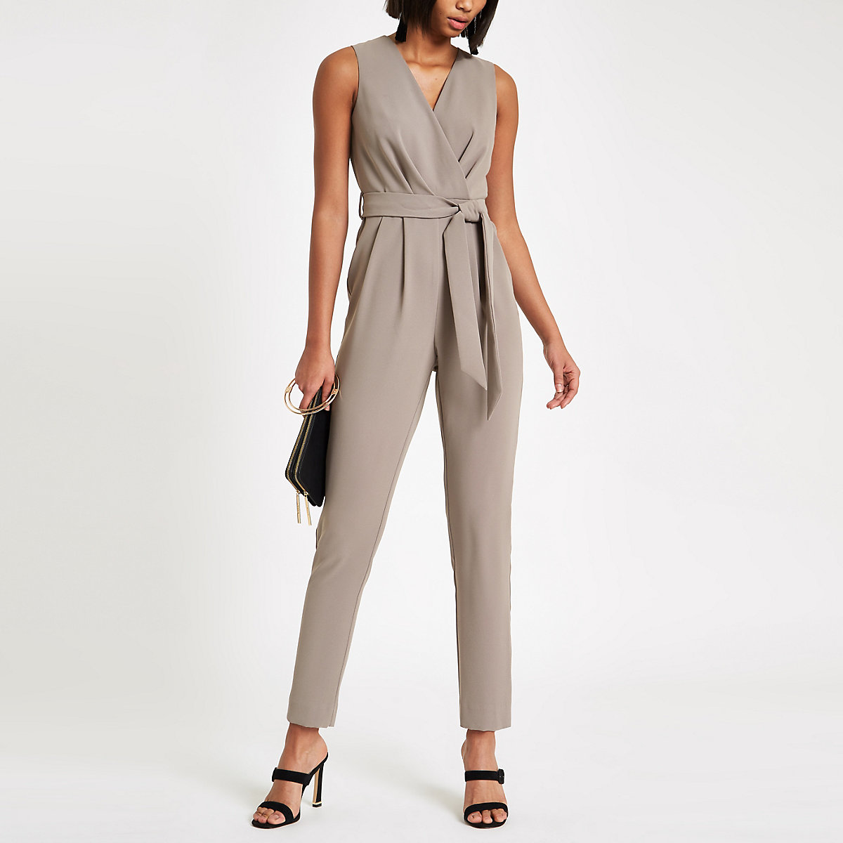 Dark grey wrap front tie waist jumpsuit
