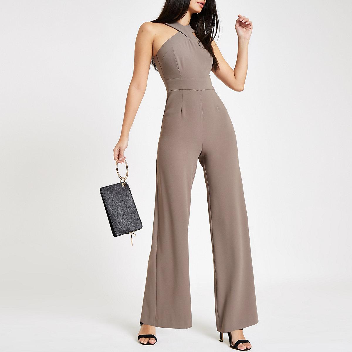 Grey cross front wide leg jumpsuit