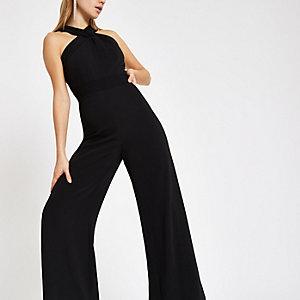 Black cross front wide leg jumpsuit