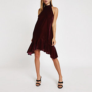 Red velvet halter neck frill swing dress