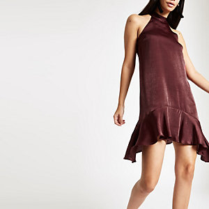 Dark red halter neck swing dress