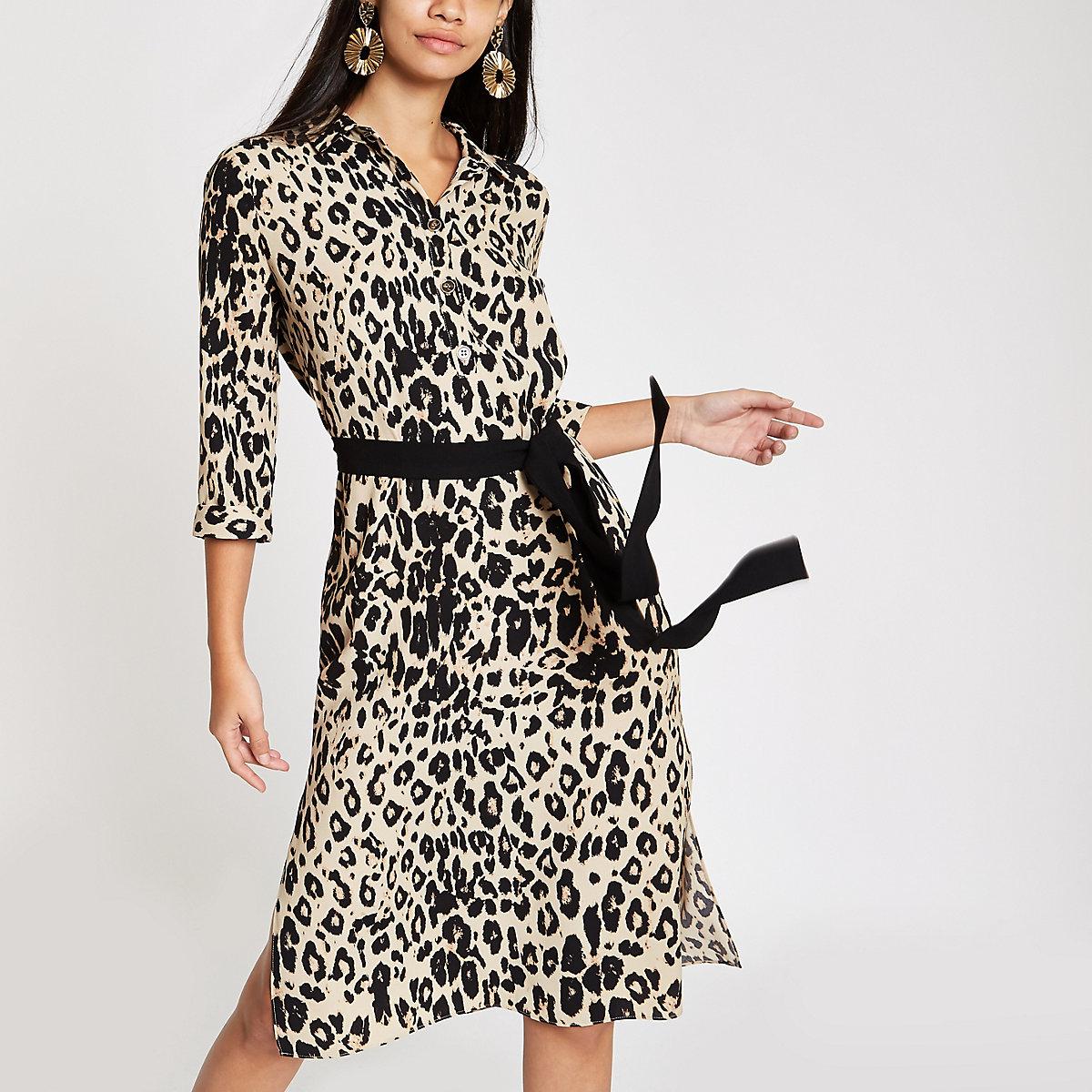 Brown leopard print tie waist shirt dress