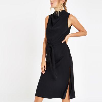 Black High Neck Sleeveless Wrap Midi Dress by River Island