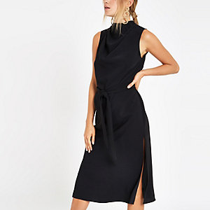 Black high neck sleeveless wrap midi dress