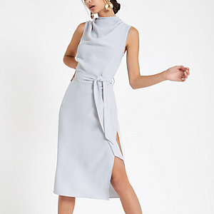 Grey high neck sleeveless wrap midi dress