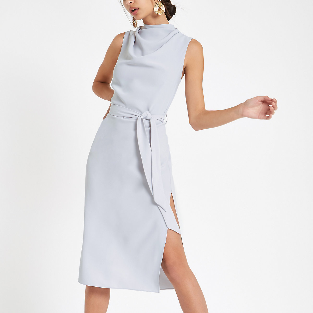 Grey high neck sleeveless wrap midi dress