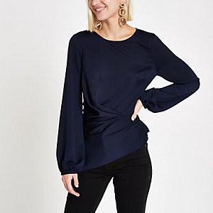 Navy tuck waist blouse