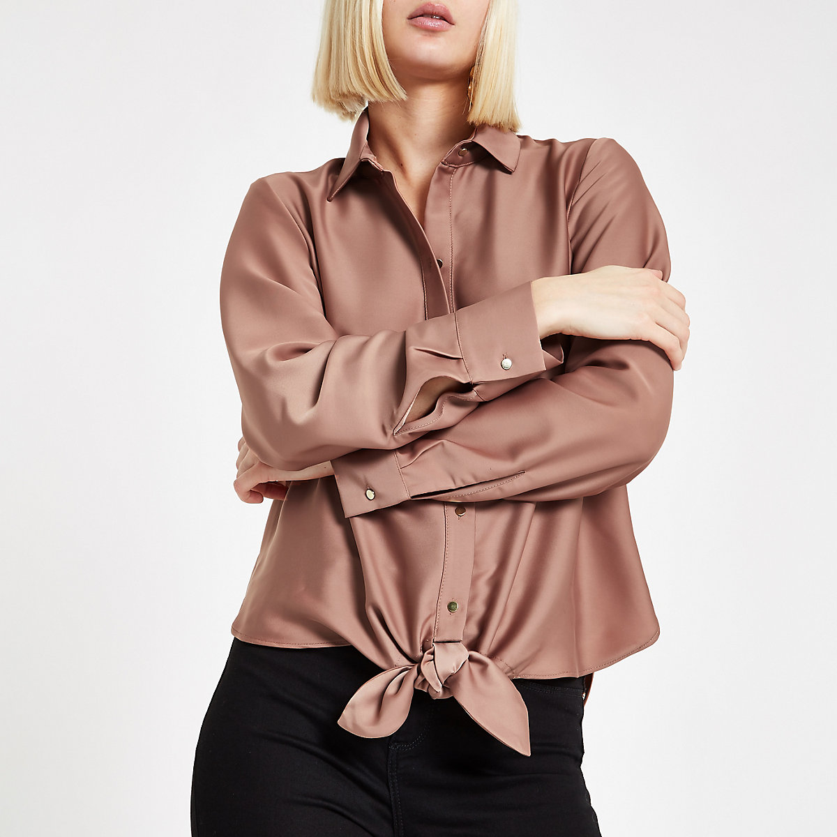 Copper tie front shirt