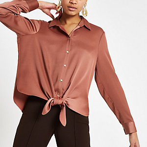 Copper tie front long sleeve shirt