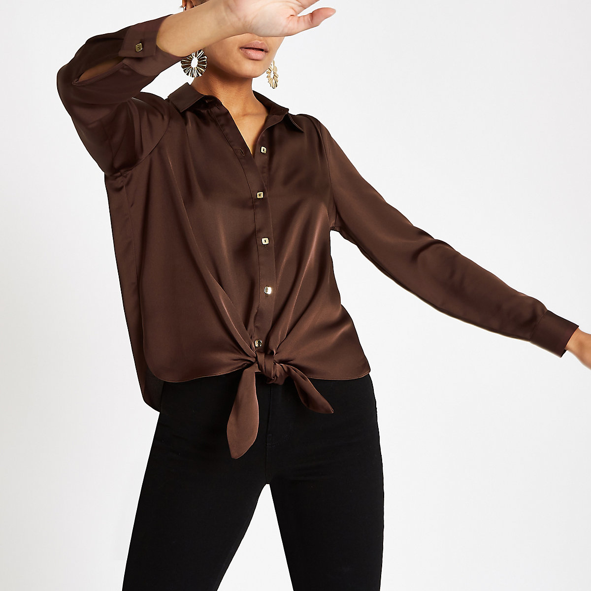 Brown tie front button-up shirt