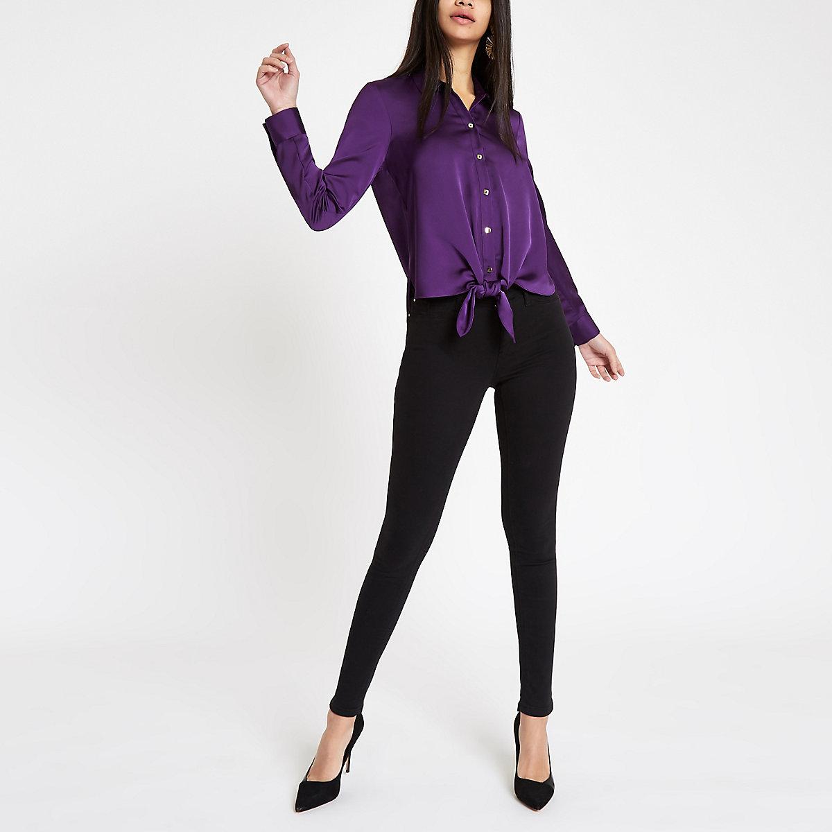 Purple tie front button-up shirt