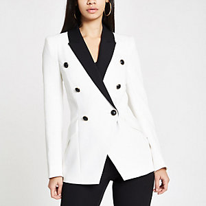 White double breasted contrast tux jacket