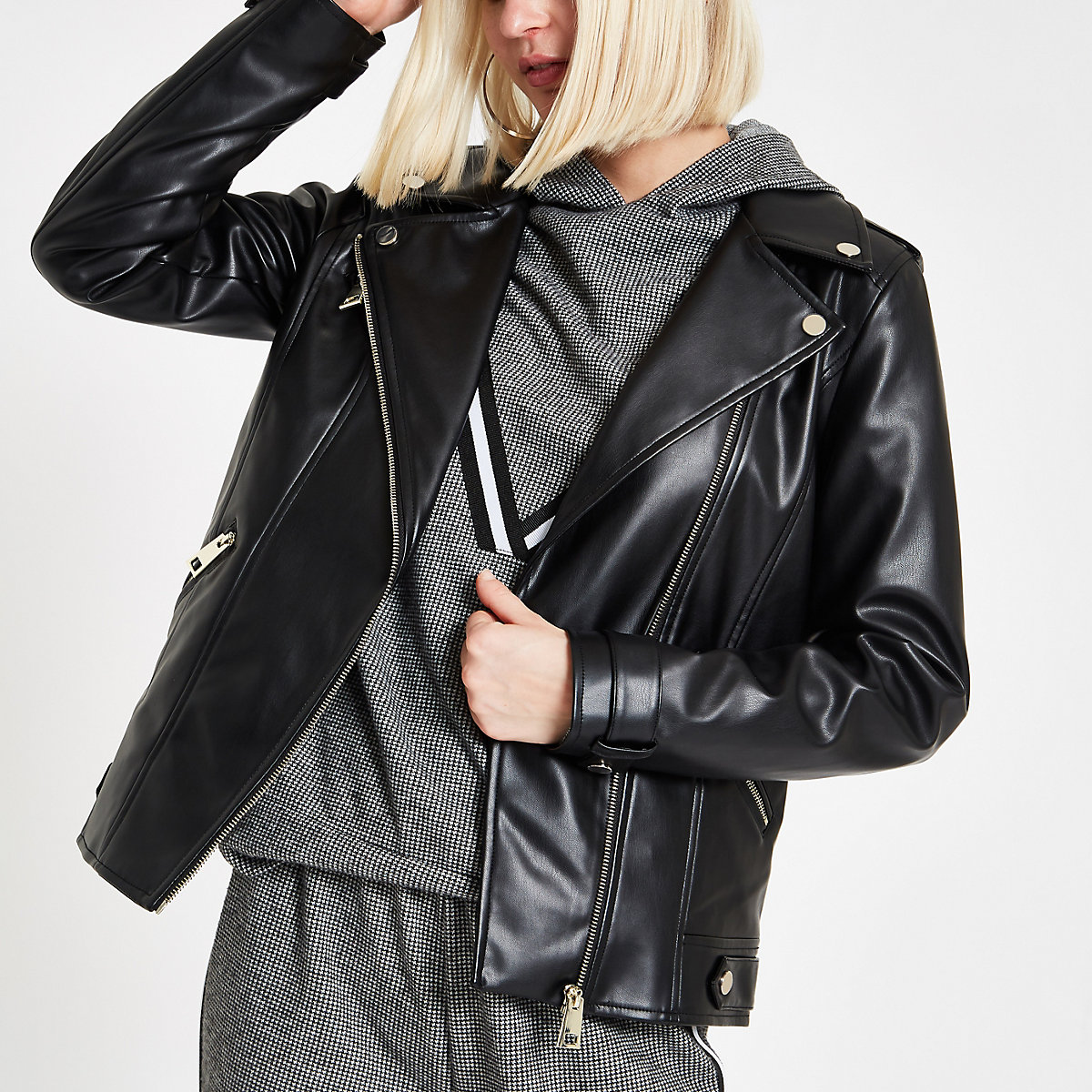 Black faux leather biker jacket
