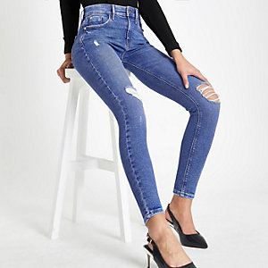 Amelie – Hellblaue Superskinny Jeans im Used-Look