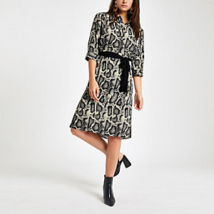 Petite beige tunic snake print dress