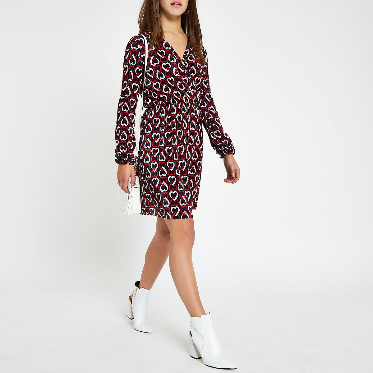 Petite black plisse geo heart print tea dress