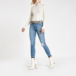 Mid blue Molly mid rise fray hem jeggings