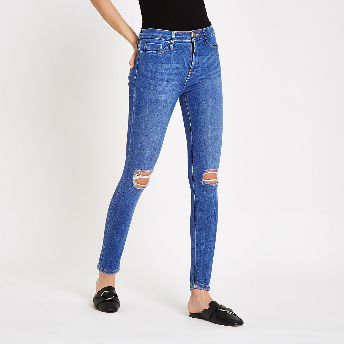 Bright blue Molly ripped jeggings