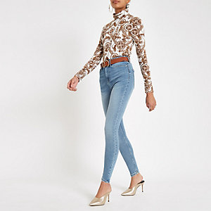Mid blue Harper high rise jeans