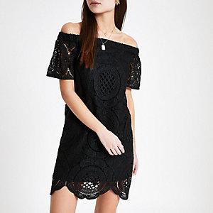 Zwart kanten Bardot swing-jurk