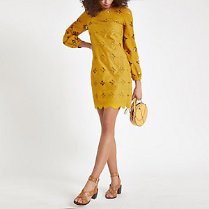 Dark yellow lace cut out swing dress