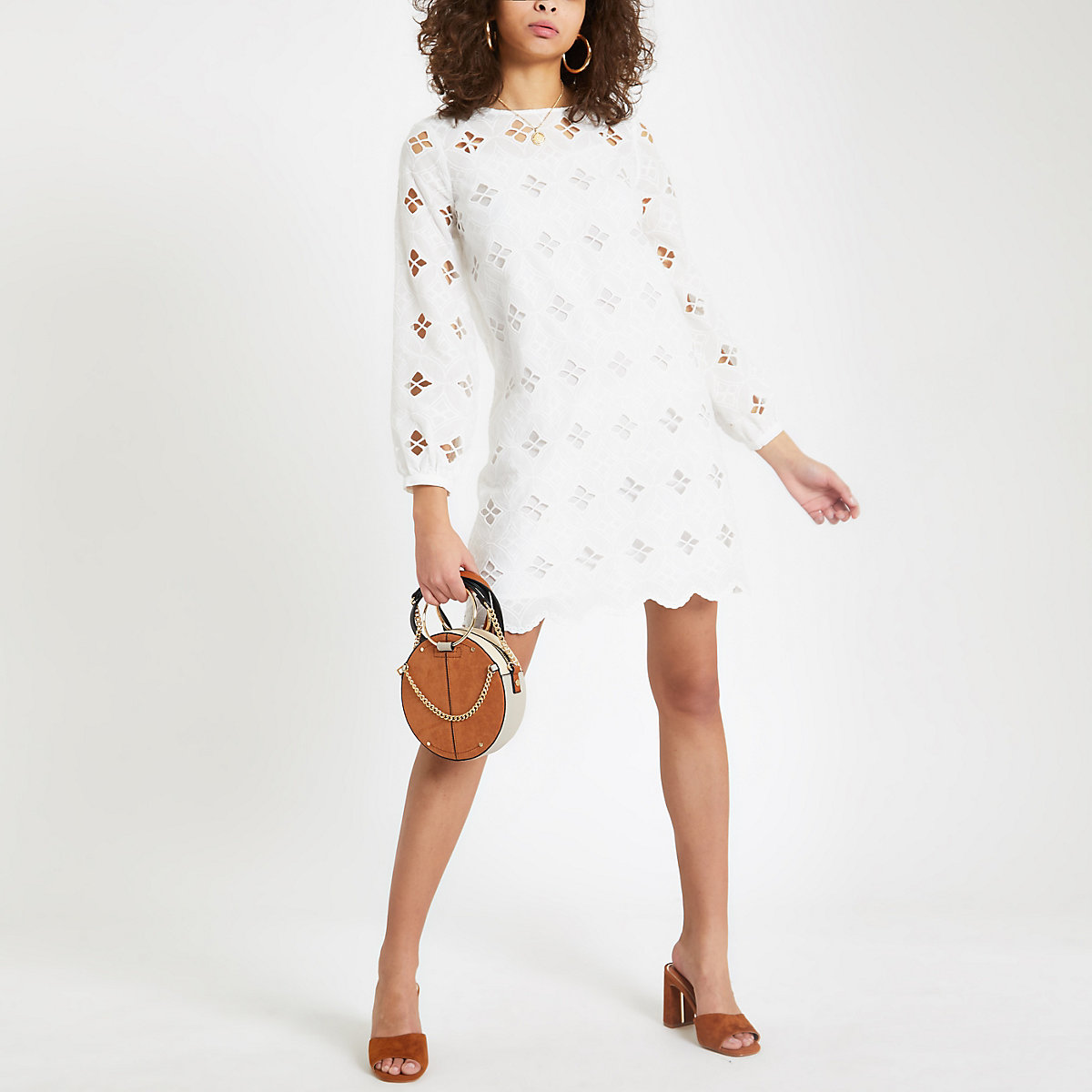 White lace cut out swing dress