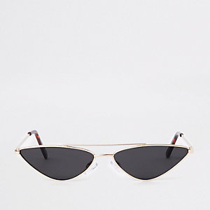 Gold tone tortoiseshell pointed sunglasses