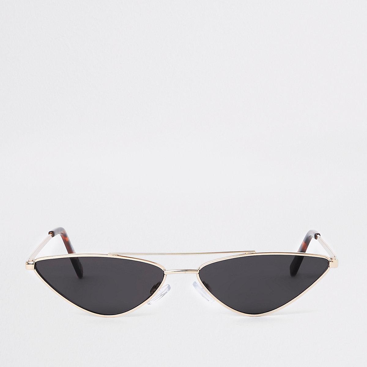 Gold metal frame slim sunglasses