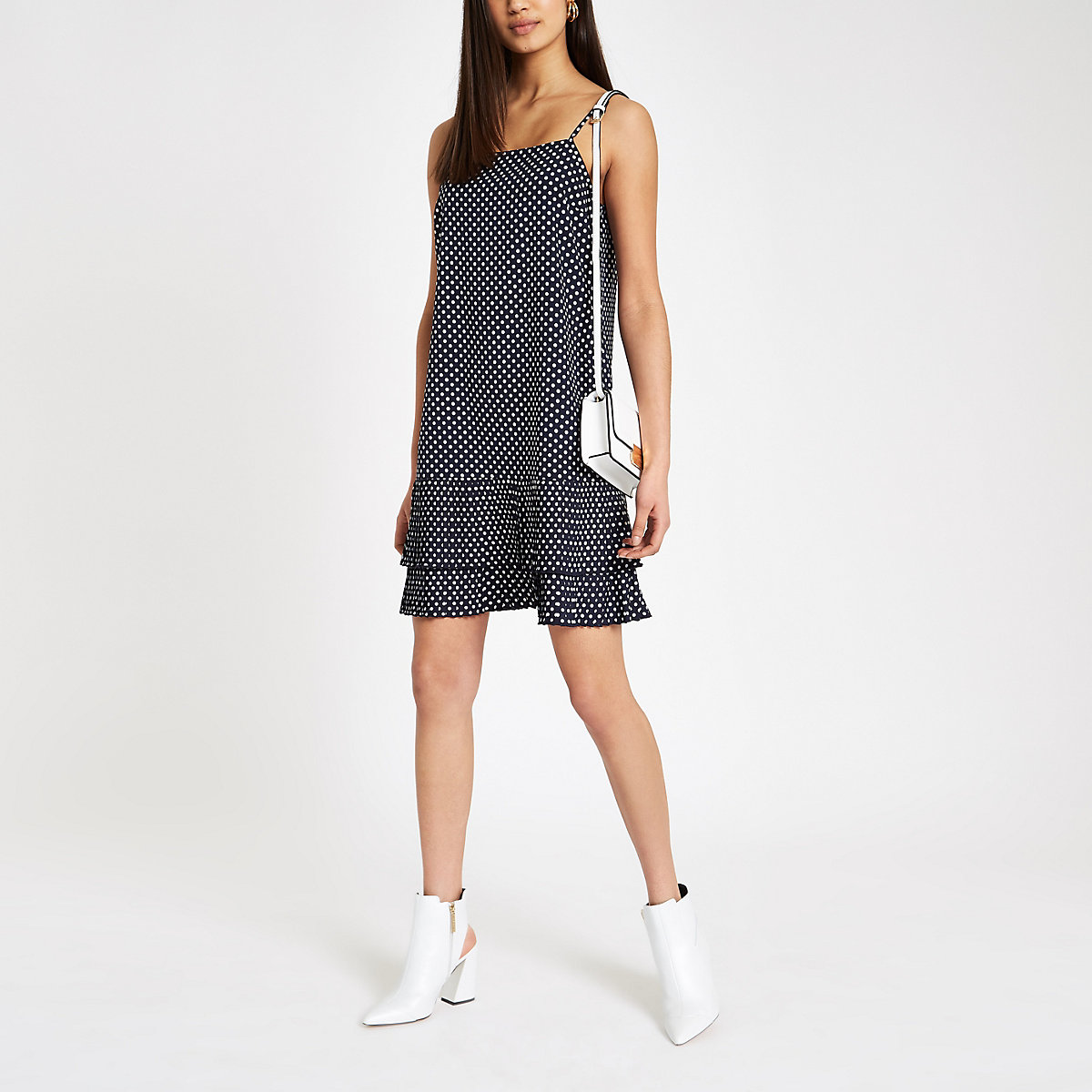 Navy spot pleated hem slip dress