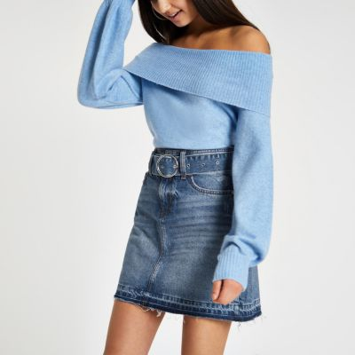 Blue Belted Denim Mini Skirt by River Island