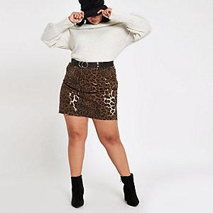 Plus ‒ Mini-jupe en denim imprimé léopard marron