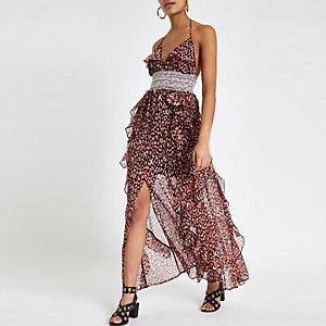 Rode maxi-jurk met print en ruches