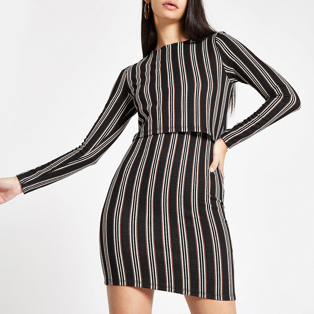 Brown stripe long sleeve bodycon mini dress