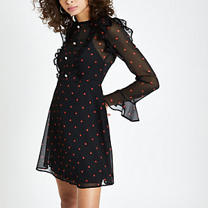 Black heart print frill tea dress