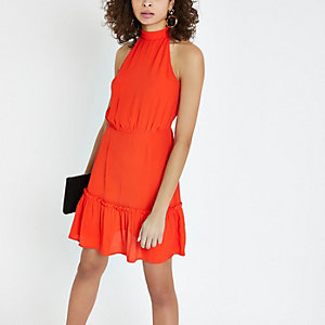 Red high tie neck swing dress