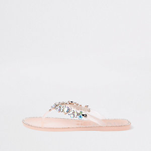 Tongs en plastique rose clair ornées de pierres fantaisie