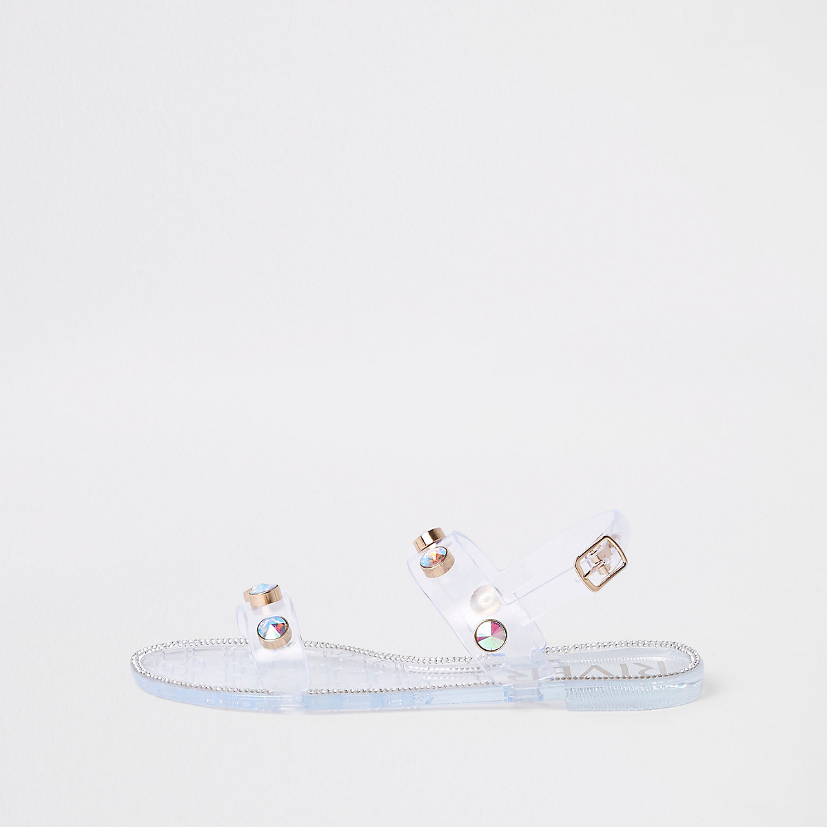 White jewel jelly sandals
