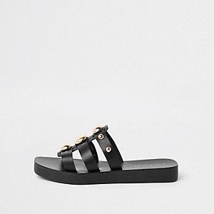 Black leather studded mule sandal