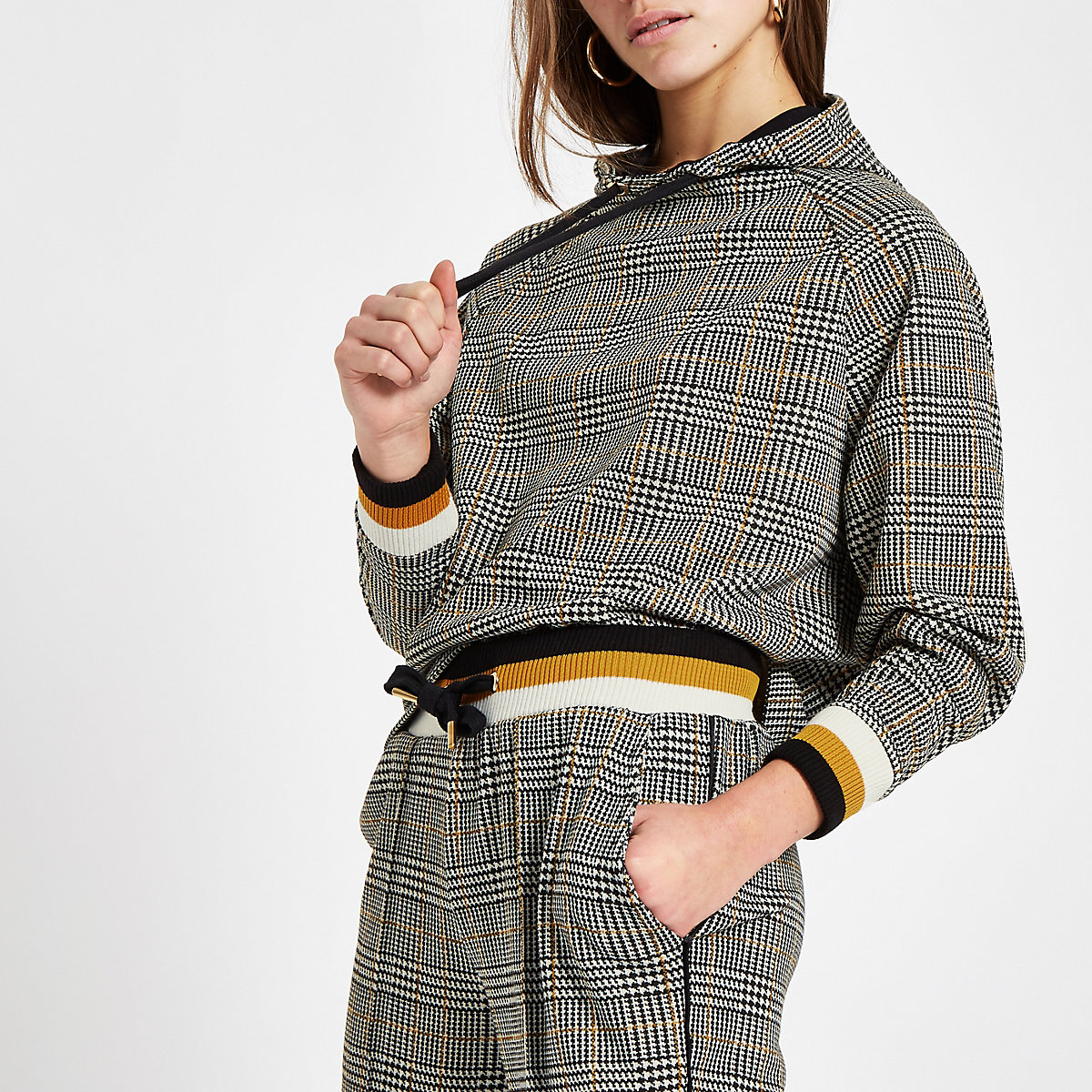 Petite brown check long sleeve hoodie